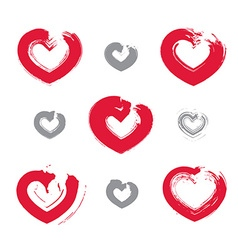 Set of hand-drawn red love heart icons collection vector image
