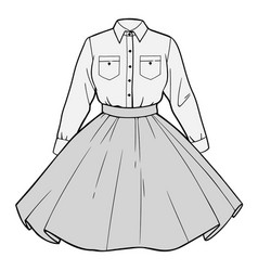 Set womens clothing shirt and skirt vector