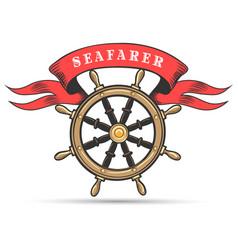 ship wheel and ribbon marine club emblem vector image