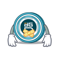 silent digixdao coin mascot cartoon vector image