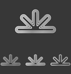 Silver line abstract logo design set vector