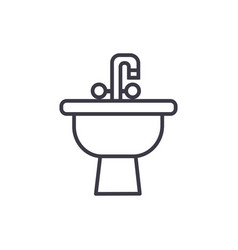 sink with tap line icon sign vector image