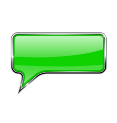 Speech bubble green 3d icon with chrome frame vector