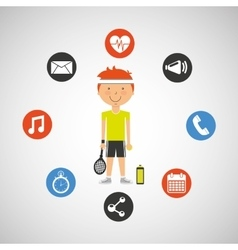 Sportsman tennis racket apps icons vector