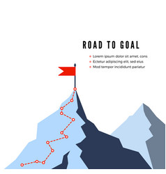 Success route path to top mountain business vector
