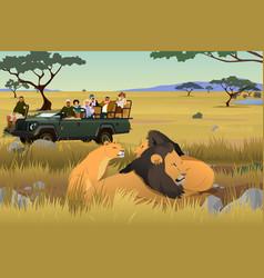 tourist on african safari trip vector image