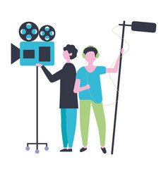 two men with camera and microphone production vector image