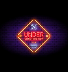 under construction sign in trendy neon style on vector image