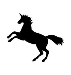 unicorn silhouette mythology symbol fantasy vector image