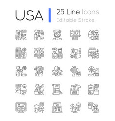 usa linear icons set vector image