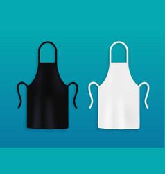 White and black kitchen aprons chef uniform vector