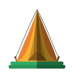 Yellow triangle tent tourism travel shadow vector