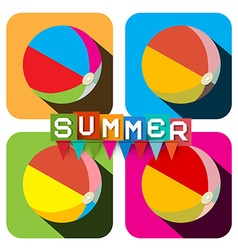 Beach Ball Set Flat Design Colorful Inflatable vector image vector image