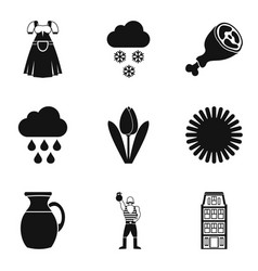 beer party icons set simple style vector image