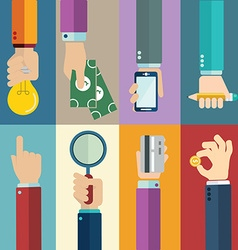 business concepts in flat style - hands icons vector image vector image