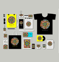 corporate flat mock-up template floral mandala vector image