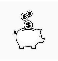 Piggy coin bank on white vector image