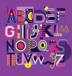 art neon font vector image vector image