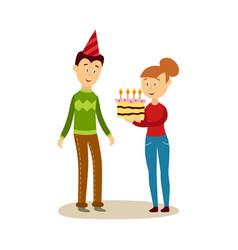 Cartoon girl giving cake to man vector