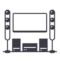 cinema roomhome theater line icon sign vector image vector image