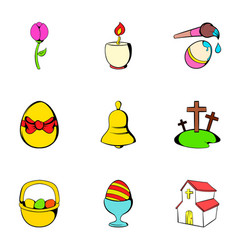 Easter bunny icons set cartoon style vector