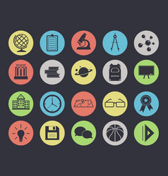 education set 20 icons isolated on black vector image