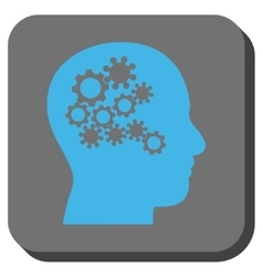 Human Mind Gears Rounded Square Button vector image