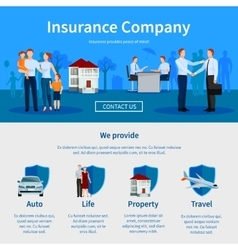 Insurance Company One Page Website vector image