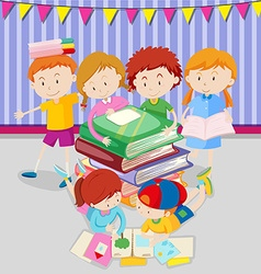 Boys and girls reading books in class vector image