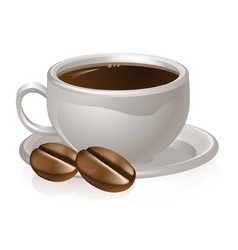 Cup of coffee and beans vector