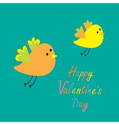 Happy Valentines Day Love card Two flying cartoon vector image vector image