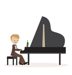 little boy in a classic suit playing piano flat vector image