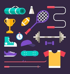 Set of Icons and in Flat Design Style Sports vector image