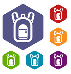backpack icons set vector image