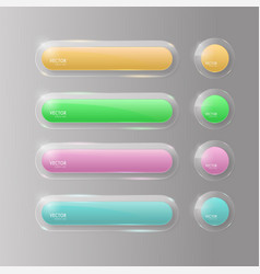 buttons web glass colorful v4 vector image vector image