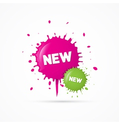 Pink and Green Stickers - Stains With New Title vector image