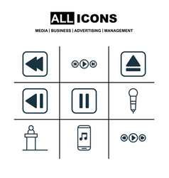 set of 9 multimedia icons includes last song vector image vector image