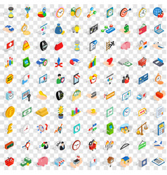 100 money icons set isometric 3d style vector image