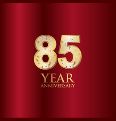 85 year anniversary gold with red background vector
