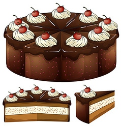 A mouthwatering chocolate cake vector