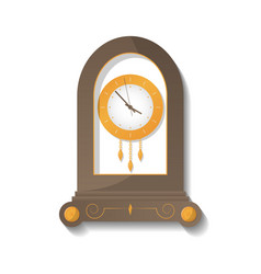 antique wooden clock icon vector image