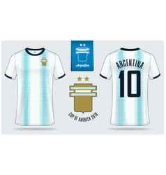 argentina soccer jersey or football kit mockup vector image