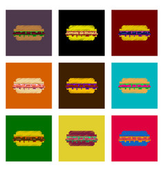 Assembly of flat shading style pixel icon burger vector