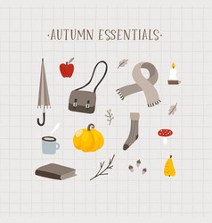 autumn essentials set cute hand drawn fall vector image