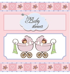 baby twins shower card vector image