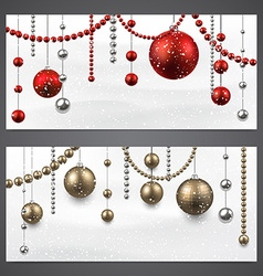 Banners with christmas baubles vector image