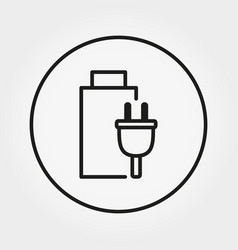 battery icon line vector image