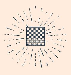 Black board game checkers icon isolated on vector