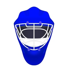 Blue goalie hockey helmet vector