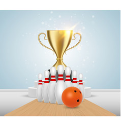 bowling tournament winner poster design vector image